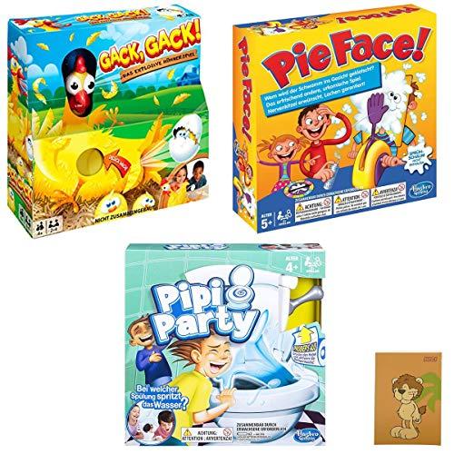 Hasbro / Mattel - 3er Spiele-Set - Pie Face, PIPI Party, Gack Gack + NICI Notizblock, Löwe