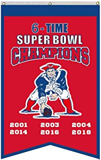 "2LOVE New England Patriots 6-Time Super Bowl Champions Banner Flag 30""x50""Inch Man Cave (Red 1)"