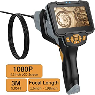 2M 1080P 4.3inch IPS LCD HD Screen Digital Semi-Rigid IP67 Waterproof Video Recording Handhold Snake Camera with 2000mAh rechargeable Battery MoKo Industrial Endoscope Borescope Inspection Camera