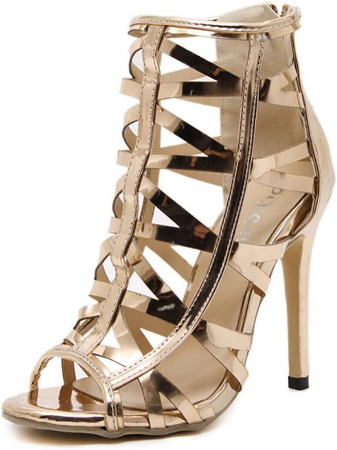 LINYI Stiletto Heels Womens Summer Open Toe shoes Fine Hollowed Champagne gold Wild Sandals
