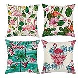 Gspirit 4er Set Kissenbezug Dekorative Dekokissen Kissenhülle Tropischer Stil Flamingo Muster Baumwolle Leinen Werfen Sie Kissenbezüge 45x45 cm