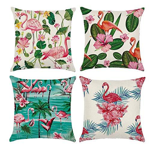 Gspirit 4 Pack Tropical Flamenco Algodón Lino Throw Pillow Case Funda de Almohada para Cojín 45x45 cm (B)