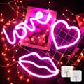 3 Pieces Neon Signs for Wall Decor USB or Battery Pink Neon Lights with Love Lip Heart LED Signs for Bedroom, LED Neon Light Neon Sign Light for Bar, Christmas, Party, Wedding, Kids Girls Living Room