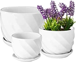 مجموعه Yinger-WG از 3 گلدان گیاهی سرامیکی - گلدان های گیاهان گلدار داخلی با بشقاب های کوچک ، متوسط تا دور گلدان های سرامیکی مدرن مدرن ، گلدان های سفید ، سفید