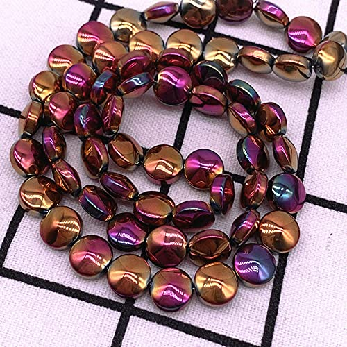 15pcs / lote 10 * 3 mm Cuentas de cristal de esmalte plano redondo con granos de cristal Pulsera Collar Joyería-01