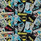 DC Comics Fabric 80th Anniversary Batman Collage in Black Premium Quality Cotton Fabric by The Yard