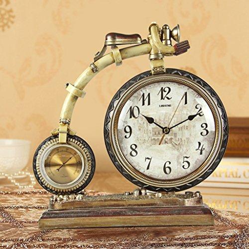 European style retro bell bike creative personality fashion clock European style watch ornaments ( Color : Antique copper )