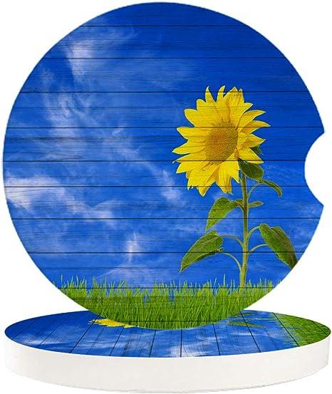 Auto Untersetzer Für Getränkehalter Sonnenblumen 6 5 Cm Keramik Stein Saugfähig Getränkeuntersetzer Für Erwachsene Männer Frauen 4 Packs Sonnenblume Sr8032 Küche Haushalt