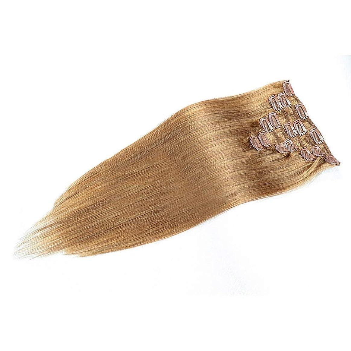 応援する釈義記憶HOHYLLYA 人間の髪の毛の拡張子で20インチ女性の二重描画クリップ - 7個フルヘッドストレートヘア(20