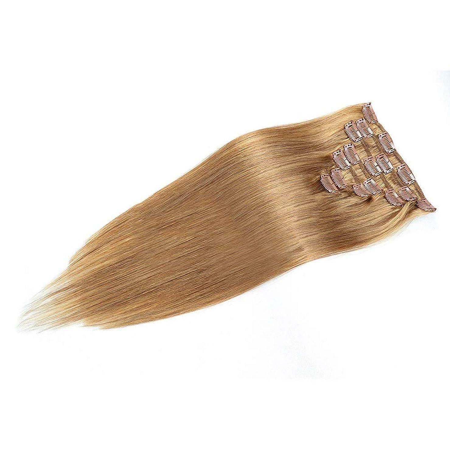 支援するやめる悪夢HOHYLLYA 人間の髪の毛の拡張子で20インチ女性の二重描画クリップ - 7個フルヘッドストレートヘア(20
