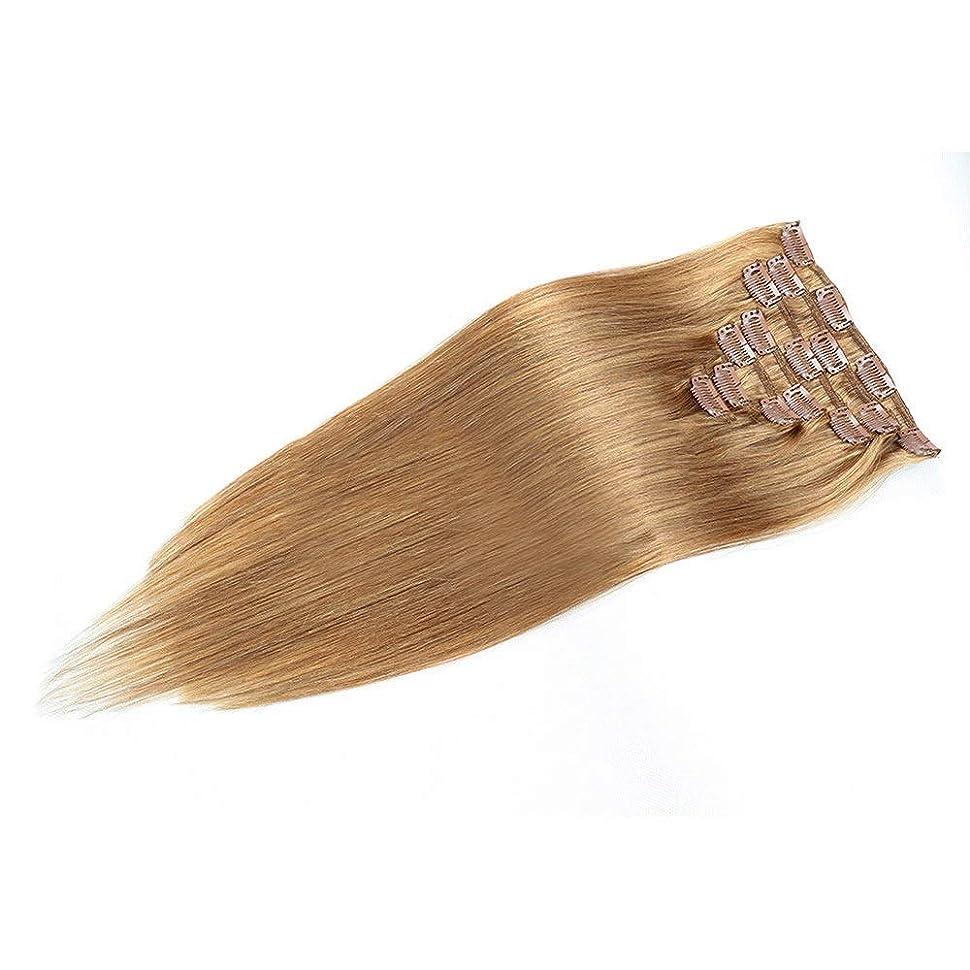 リーズ不実ジーンズVergeania 人間の髪の毛の拡張子で20インチ女性の二重描画クリップ - 7個フルヘッドストレートヘア(20