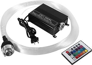 Rgbw - Juego de luces de fibra óptica de plástico de 16 W, luces LED de cielo estrellado, kit de decoración para techos con un motor ligero, mando a distancia RF y cables de fibra óptica (EU Plug)