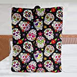 JASMODER Sugar Skull Throw Blanket Warm Ultra-Soft Micro Fleece Blanket for Bed Couch Living Room
