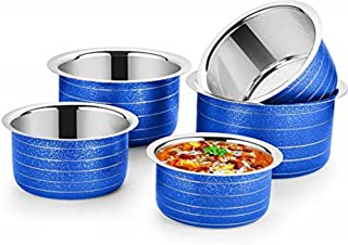 Nirvika 5Pcs Pieces Blue Stainless Steel Tope Set Cookware Sets Milk Pots/patila/tapeli 22 Gauge Heavy Bottom Kitchen Stor...
