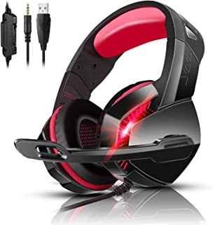 PS4 Gaming Headset with 7.1 Surround Sound, Xbox One Headset with Noise Canceling Mic & LED Light, PHOINIKAS H3 Over Ear H...