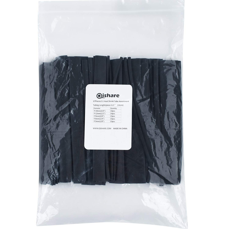 :1.9,1.2,0.9,0.6,0.3 cm Black Qishare 67 PCS 2:1 Heat Shrink Tubing kit,5 Sizes Heat Shrink Tube Diameter Electrical Cable Sleeve Assortment Heat Shrink Tube Kit,16cm Each