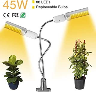 45W LED Grow Light,88 LED Full Spectrum Sun Like Grow Lamp with Easy Set Clamp&360 Degree Flexible Gooseneck for Indoor Greenhouse Hydroponic Plants Seeding, Growing, Flowering(Switch & Plug)