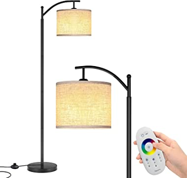 Floor Lamps for Living Room, LED Floor Lamp Remote Control with Stepless Brightness Multi Color Changing Reading Adjustable M