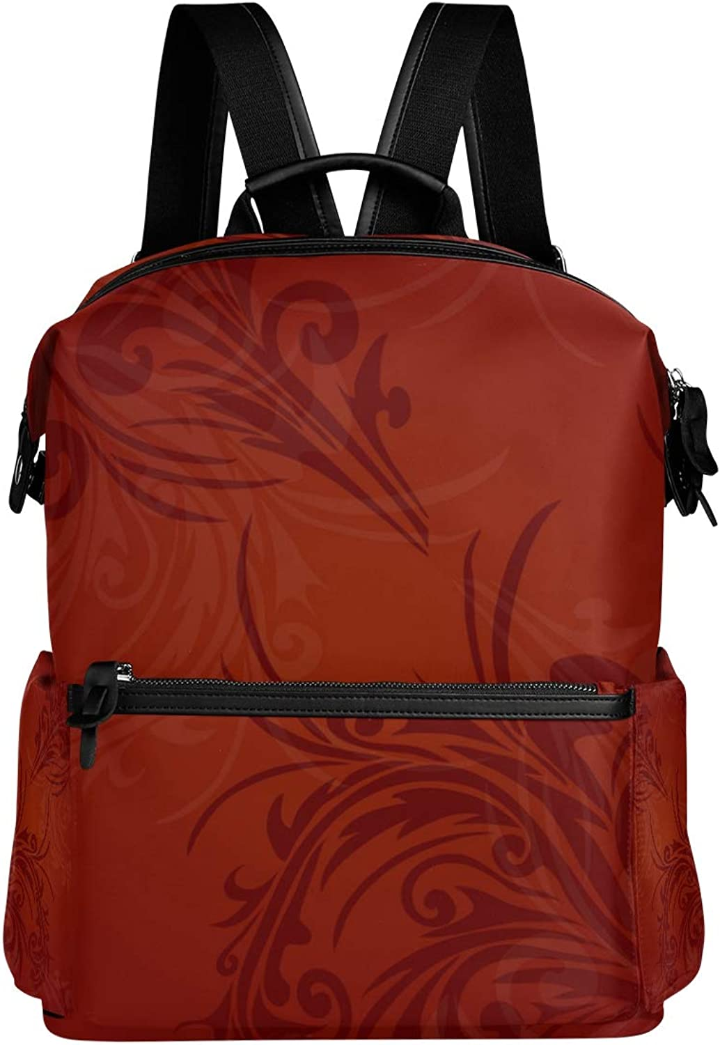 MONTOJ Beautiful Red Floral Flower Leather Travel Bag Campus Backpack