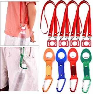 WXJ13 8 PCS Colorful Silicone Water Bottle Holder Clip Buckle with Carabiner and Hanging Rope Buckle for Outdoor Activities Camping Hiking Traveling Accessories