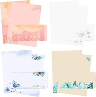 48Pcs Stationary Writing Paper with Envelopes - Japanese Stationery Set Double Sided Printing Floral Letter Writing Paper,...