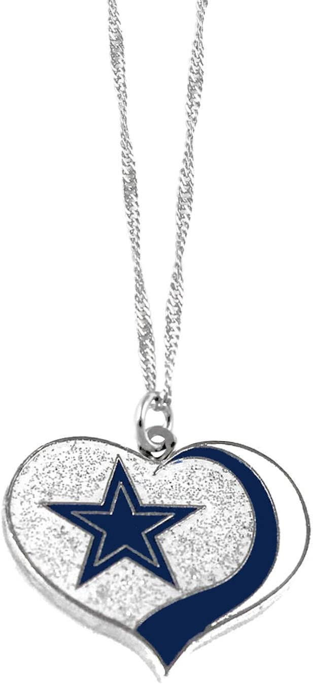 Limited time sale High material Pro Specialties Group Dallas Cowboys Necklace Heart NFL Glitter