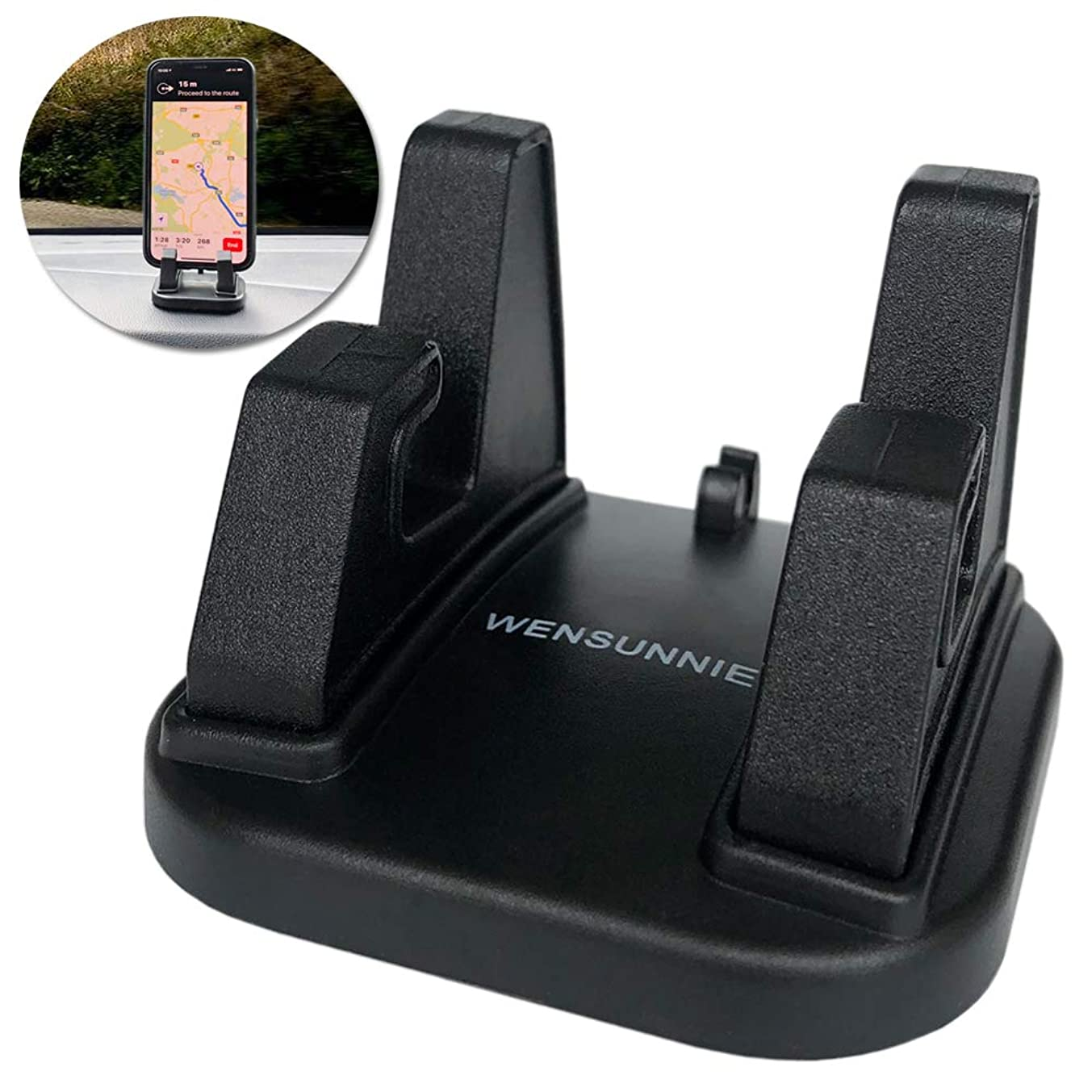 Car Hands-Free Cell Phone Holder-Dashboard 360 Rotation Car Phone Mount GPS/Sunglasses Holder Mounting in Vehicles Pickup Compatible with iPhone X XS Max 8 7 Plus Galaxy S10 S9 (Black)