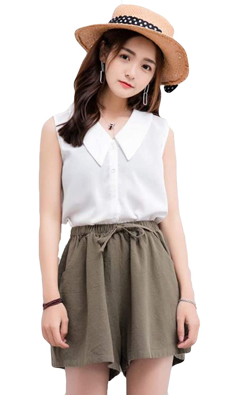 YiTong リネンパンツ レディース キュロット ゆったり 美脚 ショートボトムズ ワイドパンツ 女性 夏 亜麻ズボン 涼しい 無地 薄手 韓国風 ファッション