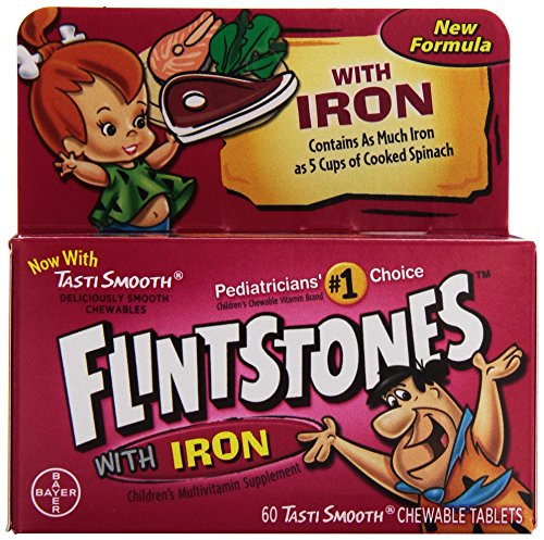 Flintstones, Children's Multivitamin Supplement with Iron, Fruit Flavors, 60 Chewable Tablets