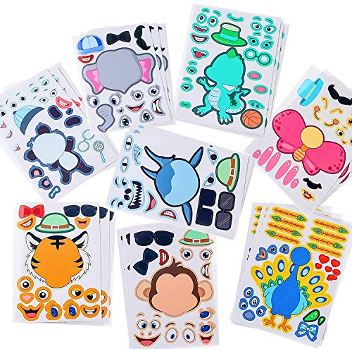 Sinceroduct Make Your Own Stickers, 60 PCS Make-a-Face Stickers with 20 Designs, Animals Stickers for Kids. Party Favors, Gift of Festival, Rewards, Art Craft.