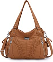 Angel kiss Women Top Handle Satchel Handbags Shoulder Bag Messenger Tote Washed Leather Purses Bag