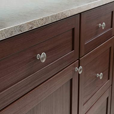 "Franklin Brass Round Ringed Kitchen Cabinet Knobs or Drawer Knobs 1-1/4"" (32mm), 25-Pack Satin Nickel Cabinet Hardware P3"