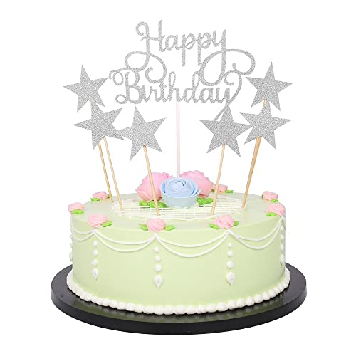 LXZS BH 7 Pack Glitter Letters Happy Birthday Cake Topper Decorations Silver
