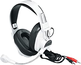 Califone 3066AV Deluxe Multimedia Stereo Wired Over-the-head Headset, 3.5mm Plug, Black, White