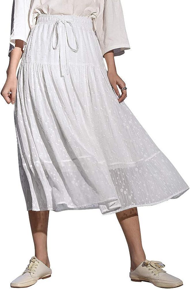 Ezcosplay Women Elastic High Waist Tie Gauze Skirt Layered Pleated A-Line Skirt