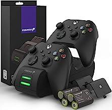 Estação de carregamento Fosmon de condução dupla compatível com controles de Xbox One, Xbox One X – Preto (pacote inclui 2...