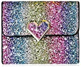 Bestmaple Multicolor Metal Sequins Small Wallet PU Leather Patchwork Hasp Mini Wallet for Women Girls Money Wallet Card Coins Bag(Heart button)