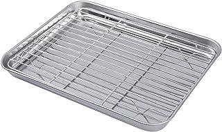 Hemoton - Juego de 2 bandejas rectangulares para hornear de acero inoxidable con estante de refrigeración extraíble, 26 x 20 x 2,5 cm, acero inoxidable, Imagen 1, Talla 1