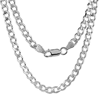 Solid 925 Sterling Silver Cuban Chain Necklace - Made in...