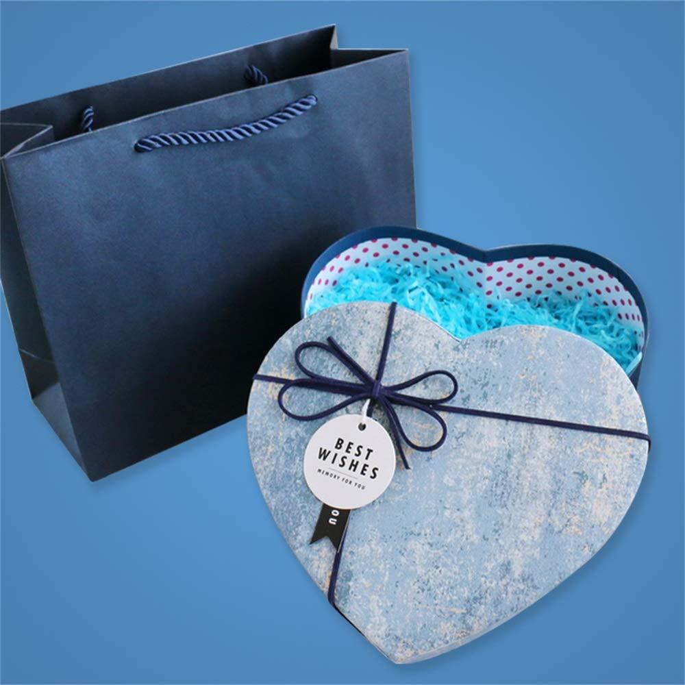 Gsej Acción de Gracias Navidad en Forma de corazón Azul Rosa Caja de Regalo con Tapa, Relleno de Bolsa de Regalo, Pulsera de Perfume Caja de Regalo de Chocolate, 3 tamaños: Amazon.es: