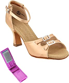 Very Fine Ladies Latin, Rhythm, Salsa, Wedding Dance Shoes - C-Series - C1620-2.5-inch Heel and Foldable Brush Bundle