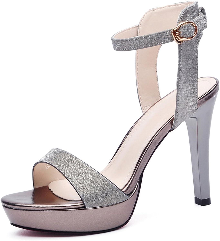 Summer Stiletto Heels Sexy Female Sandals Women's shoes (color   Lead color, Size   35)