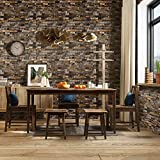 Homdox Stone Peel and Stick Wallpaper - Removable Contact Paper, Prepasted Wall Paper or Self Adhesive Shelf Paper – 3D Faux Textured Stone Wall Look – Rustic Brick Wallpaper