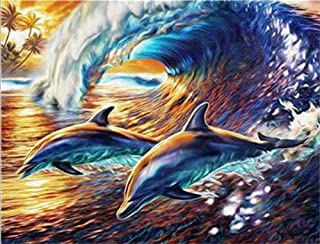 """DIY Oil Painting by Numbers Kits for Adult""""Beautiful Dolphin"""" Paint Color According to The Numbers on The Canvas Holiday G..."""