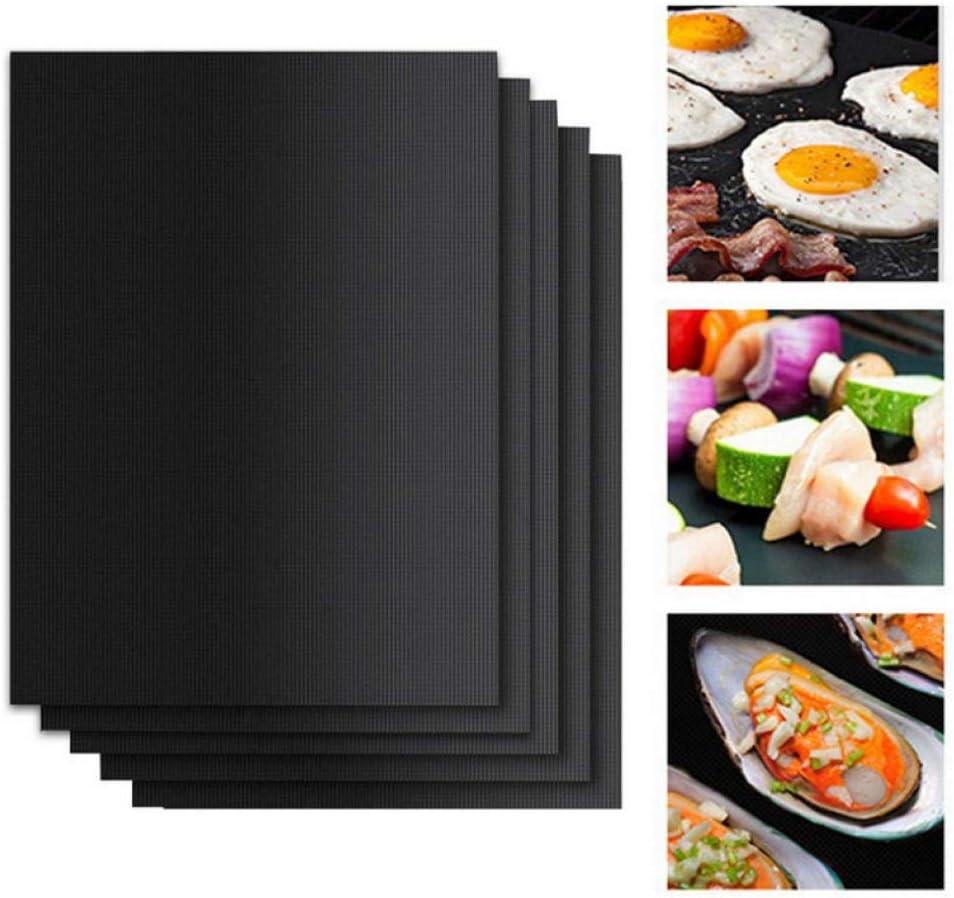 1/2/3 / 5PCs Tapis de Gril de Barbecue Réutilisable Antiadhésif Barbecue Tapis de Cuisson Couvertures Feuille Feuille BBQ Liner Tool Cuisine Gadget de Cuisine-Black_2PCs Black 1PCs