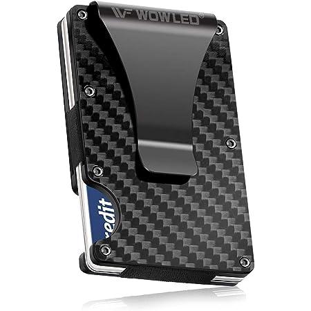 WOWLED Minimalist Men's Wallet, Slim Carbon Fiber Credit Card Holder RFID Blocking Metal Wallets Money Clip Card Protector