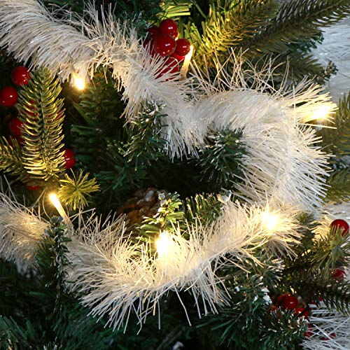 com-four 3X Ghirlanda Natalizia in Bianco per Natale la Decorazione Perfetta Anche per Capodanno e Carnevale (03 Pezzi - 7,5 cm/Bianco)