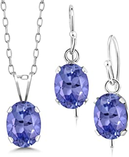 2.25 Ct Oval Blue Tanzanite 925 Sterling Silver Pendant Earrings Set With Chain