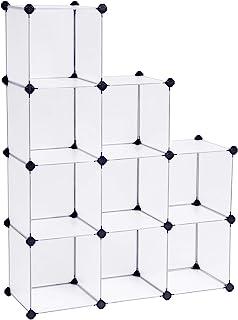 SONGMICS LPC115S kubförvaring badrumshylla skoställ sidobord byrå garderob förvaringsbox vit 93 x 31 x 123 cm