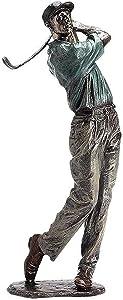 LGYKUMEG Golfer Figurine Statue Decor,Swinging A Golf Club Statue,Vintage Modern Art Abstract Sculpture Resin Ornament for Home Shelf Office 33/38Cm Tall,C